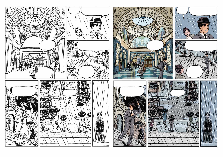 page mise en couleurs pour Jujitsuffragettes, les Amazones de Londres aux éditions Declourt, dessins de Lisa Lugrin, scénario de Clément Xavier